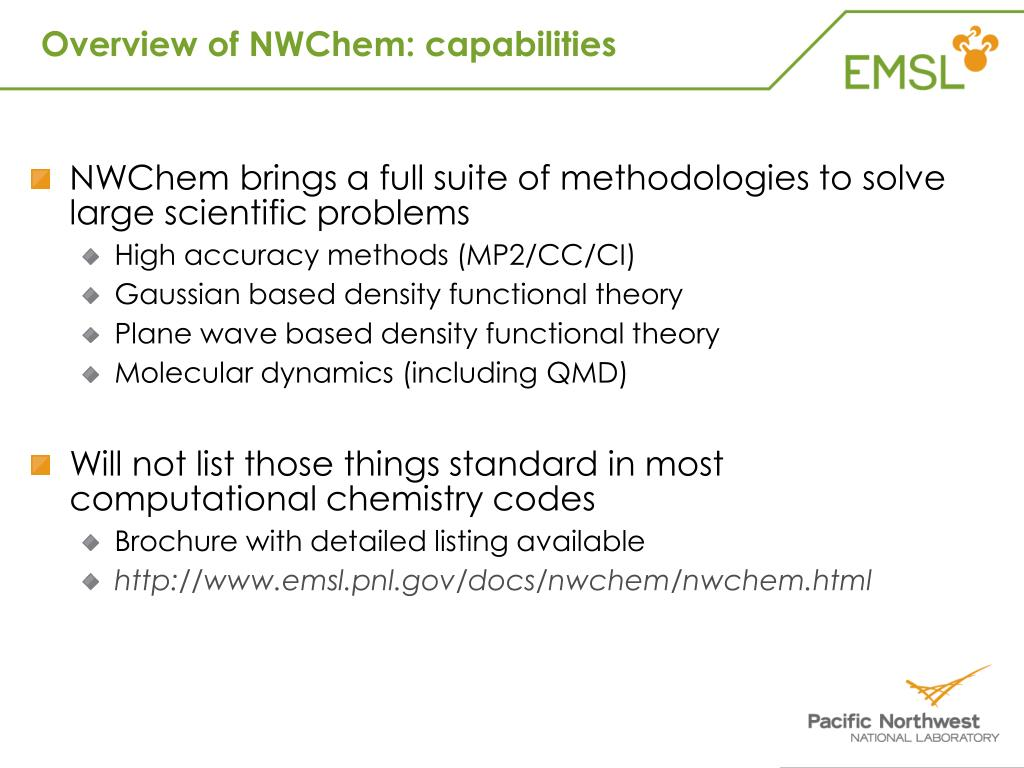 Overview of NWChem: capabilities