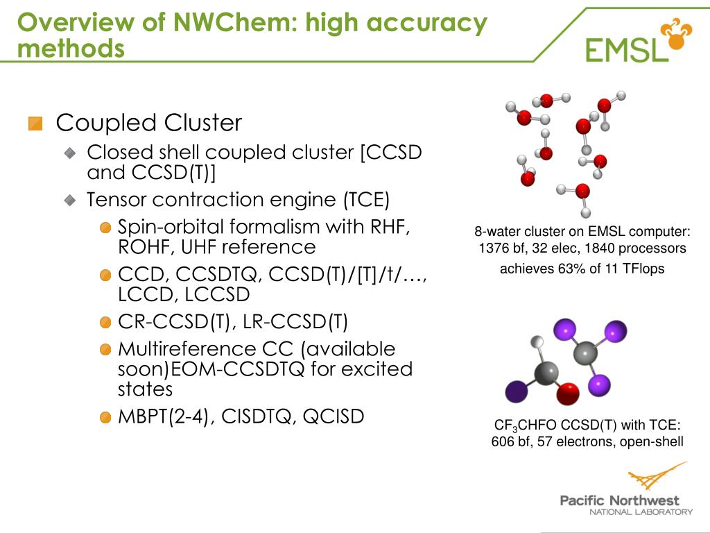 Overview of NWChem: high accuracy methods