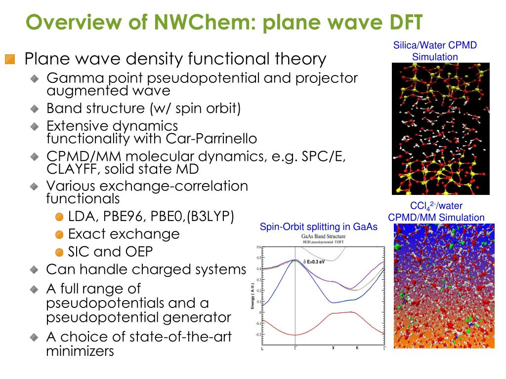 Overview of NWChem: plane wave DFT