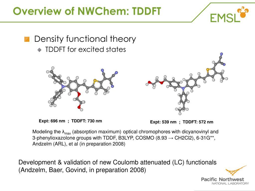 Overview of NWChem: TDDFT