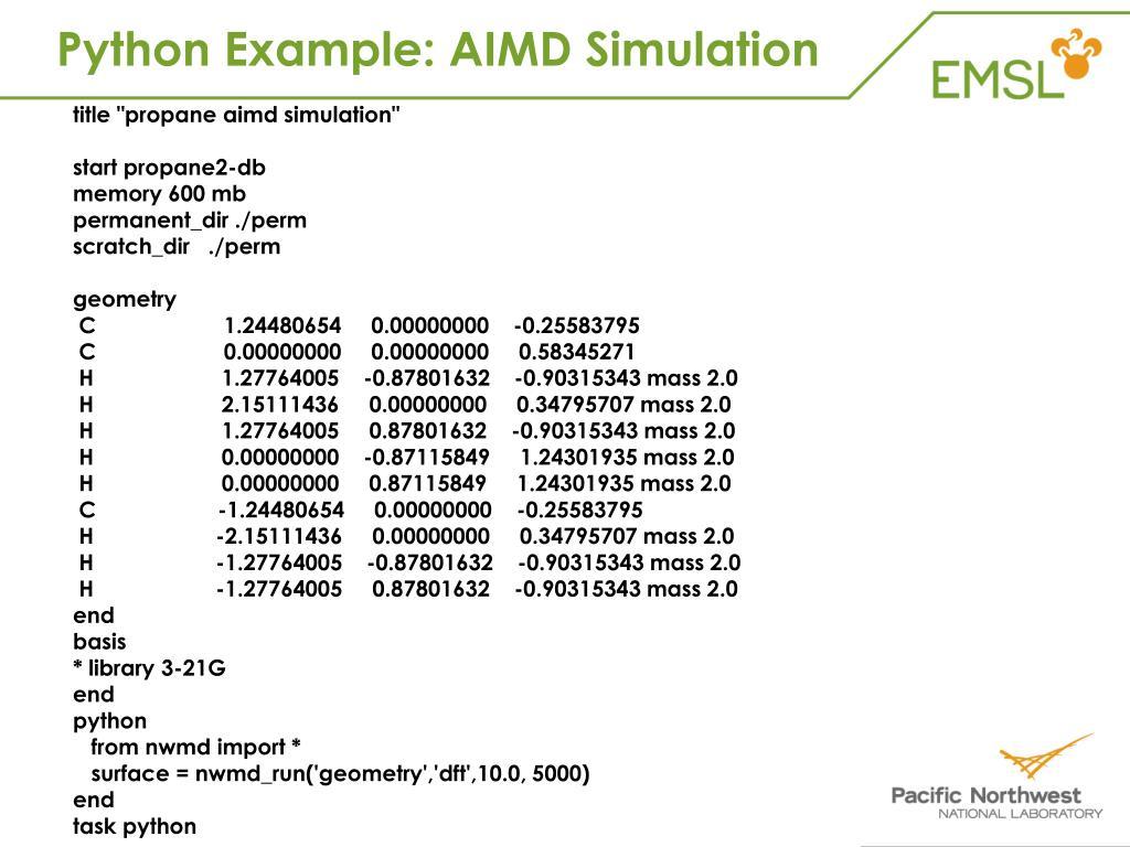 Python Example: AIMD Simulation