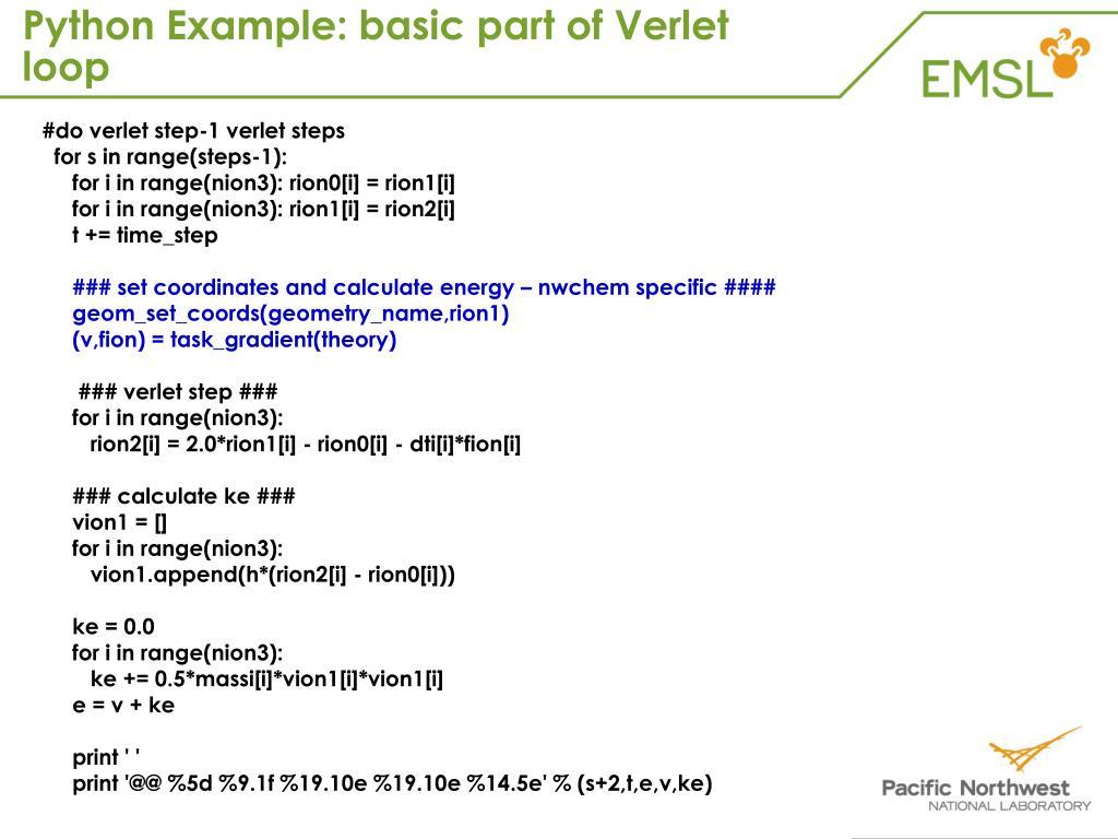 Python Example: basic part of Verlet loop