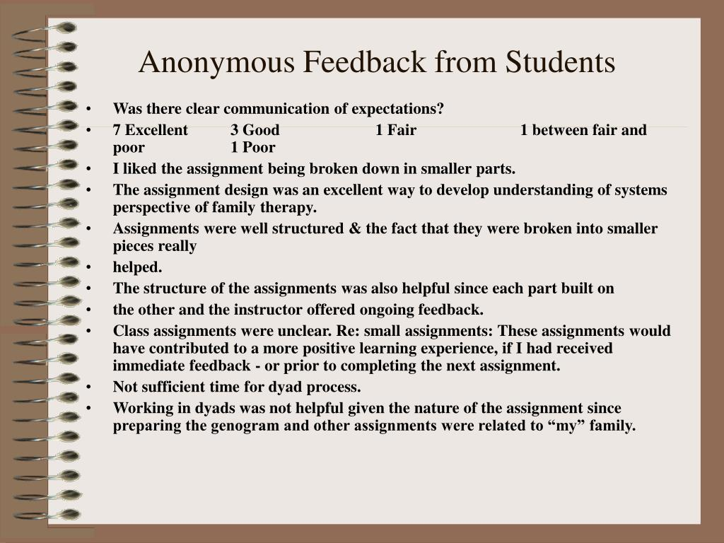 Anonymous Feedback from Students