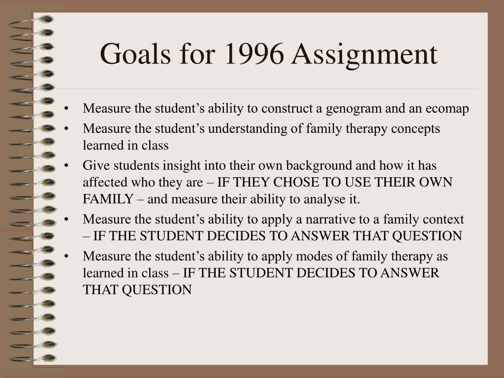 Goals for 1996 Assignment