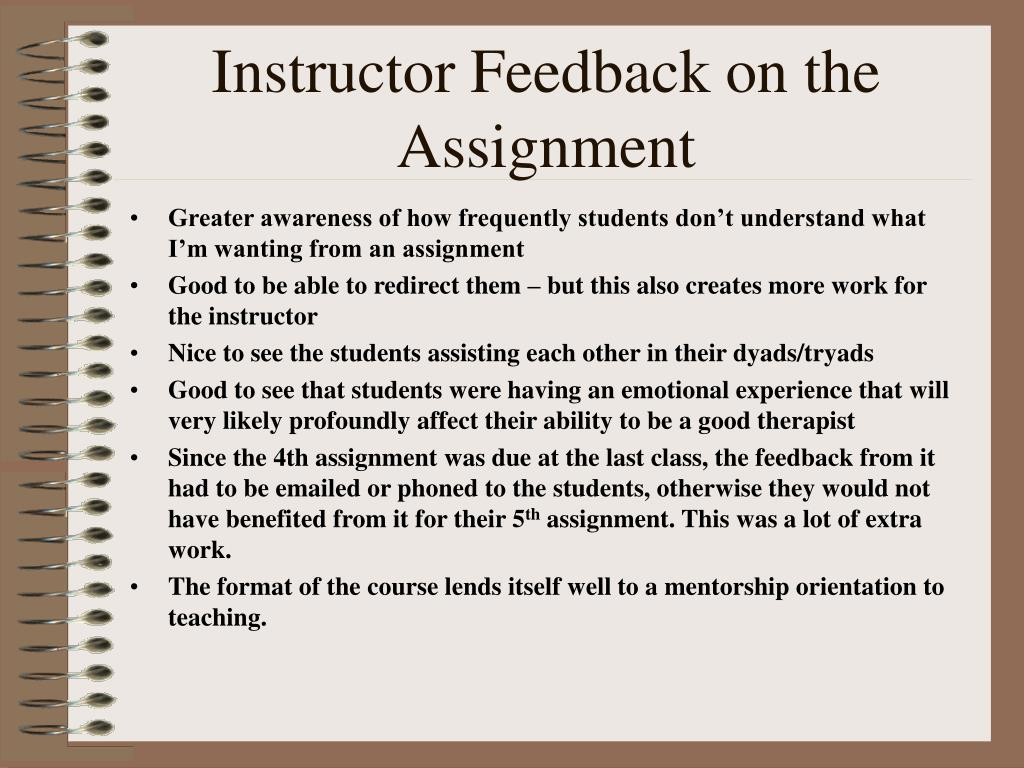 Instructor Feedback on the Assignment