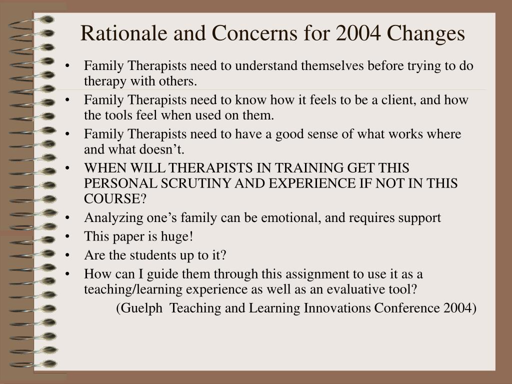 Rationale and Concerns for 2004 Changes