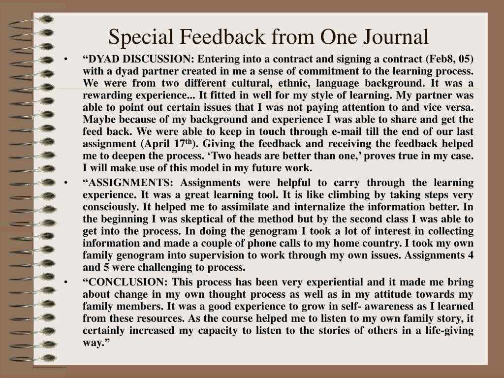 Special Feedback from One Journal