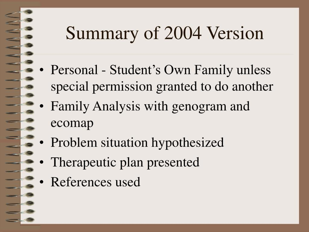 Summary of 2004 Version