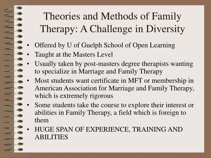 Theories and methods of family therapy a challenge in diversity