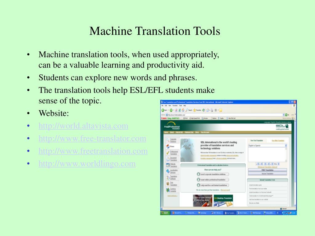 Machine Translation Tools