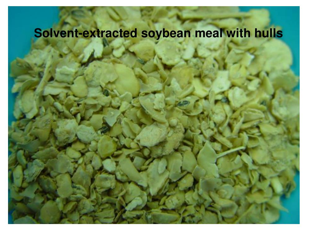 Solvent-extracted soybean meal with hulls