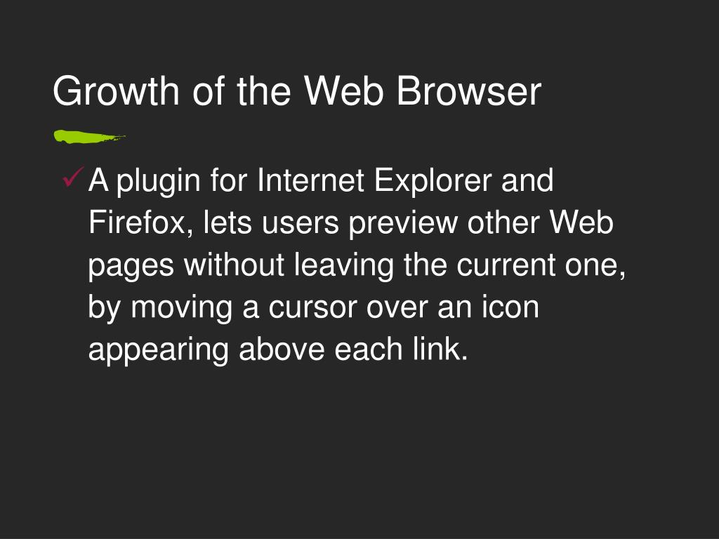 Growth of the Web Browser