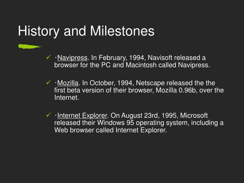 History and Milestones