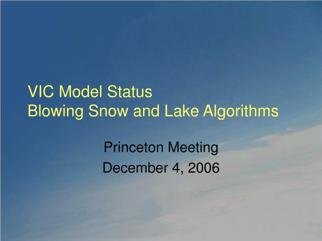 VIC Model Status