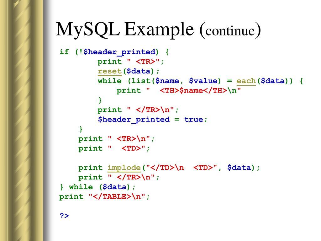 MySQL Example (