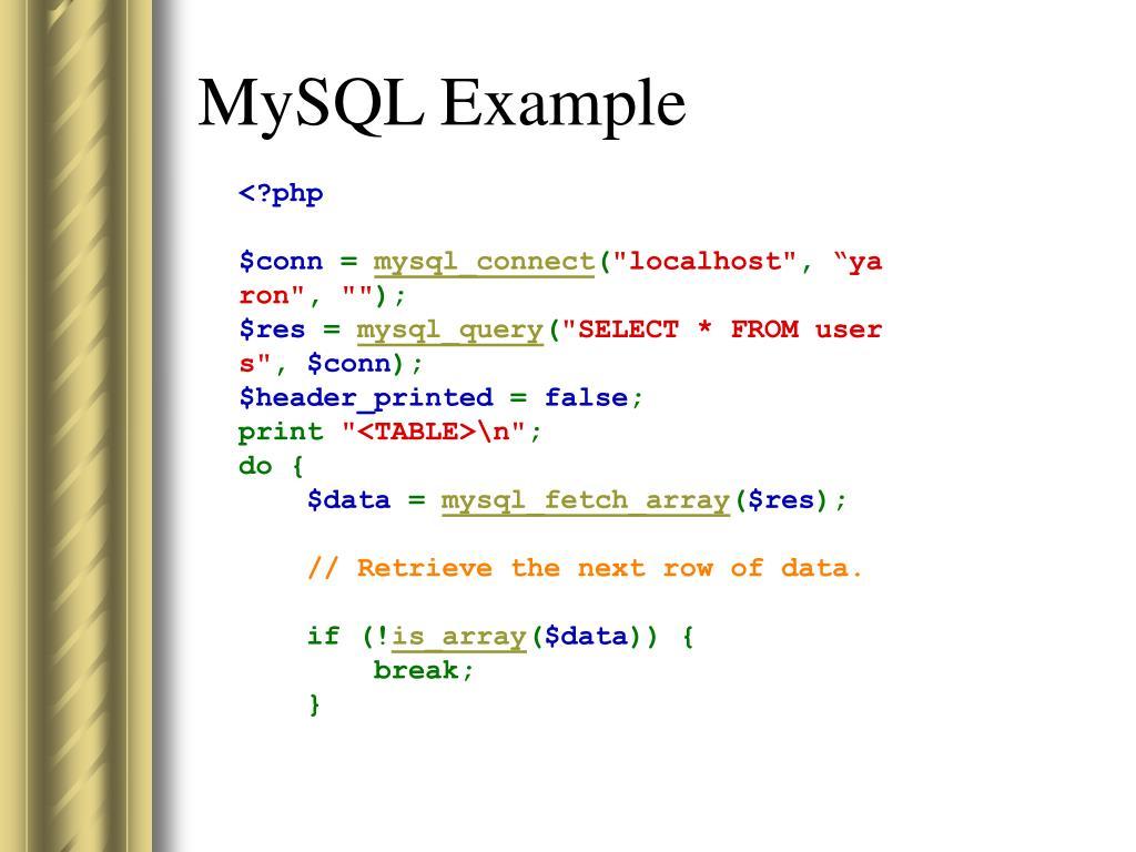 MySQL Example