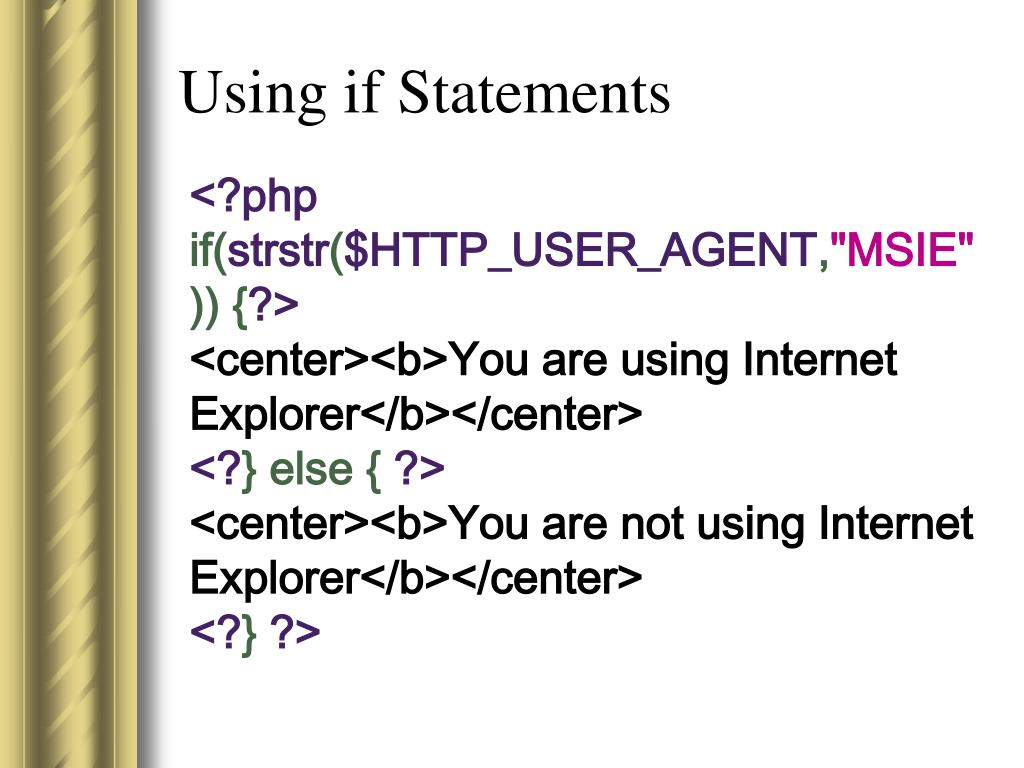 Using if Statements