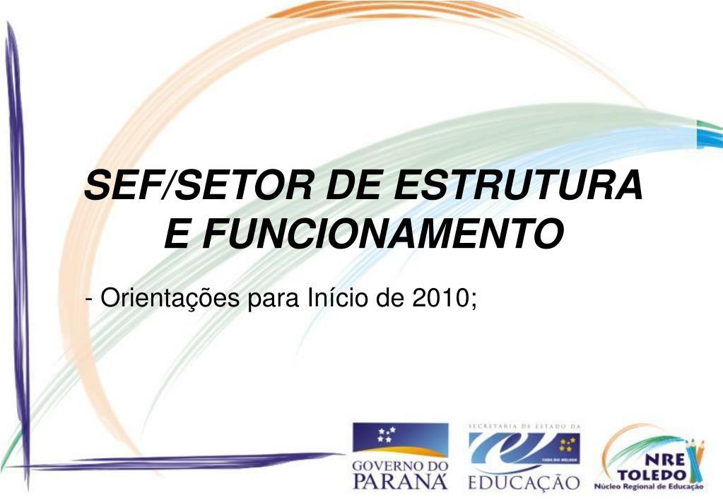 SEF/SETOR DE ESTRUTURA E FUNCIONAMENTO