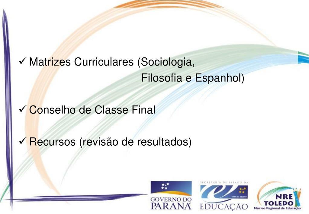 Matrizes Curriculares (Sociologia,