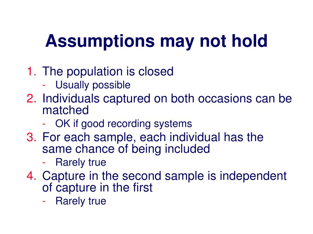 Assumptions may not hold