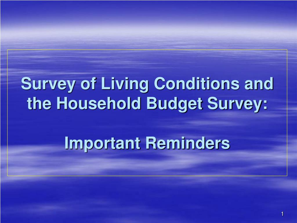 Survey of Living Conditions and the Household Budget Survey: