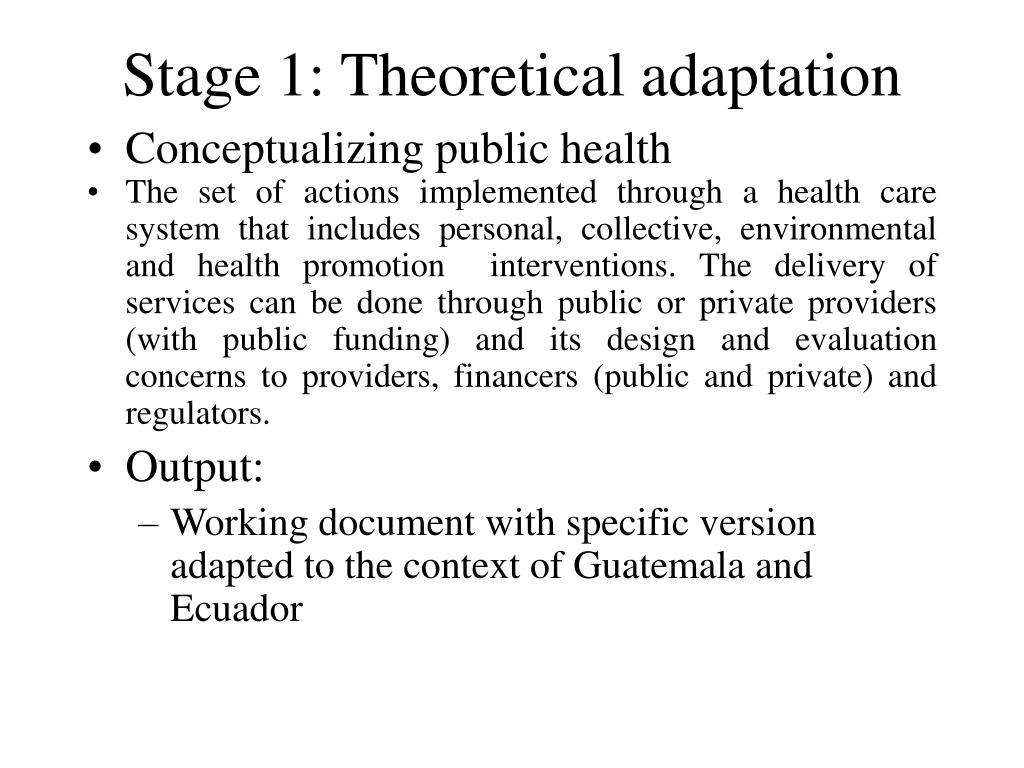 Stage 1: Theoretical adaptation