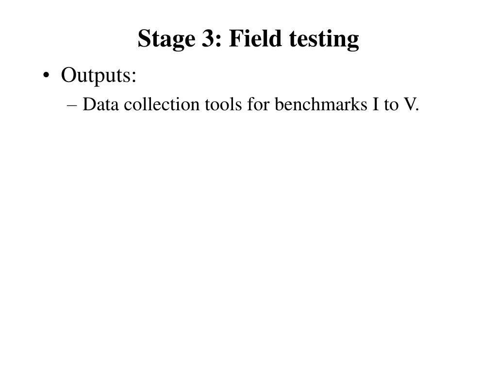 Stage 3: Field testing