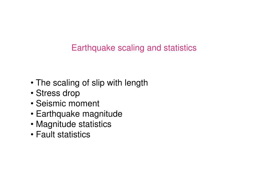 Earthquake scaling and statistics