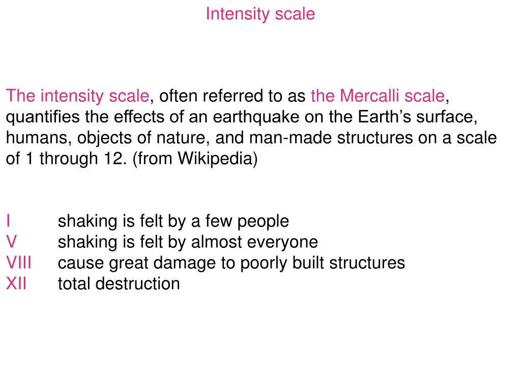 Intensity scale
