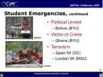 student emergencies continued