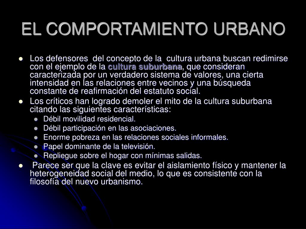 EL COMPORTAMIENTO URBANO