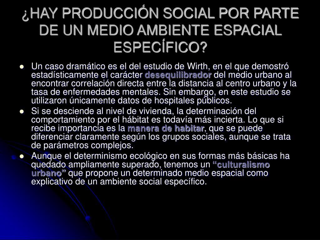 ¿HAY PRODUCCIÓN SOCIAL POR PARTE DE UN MEDIO AMBIENTE ESPACIAL ESPECÍFICO?