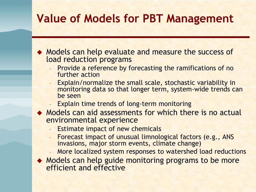 Value of Models for PBT Management