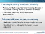 learning disability services summary