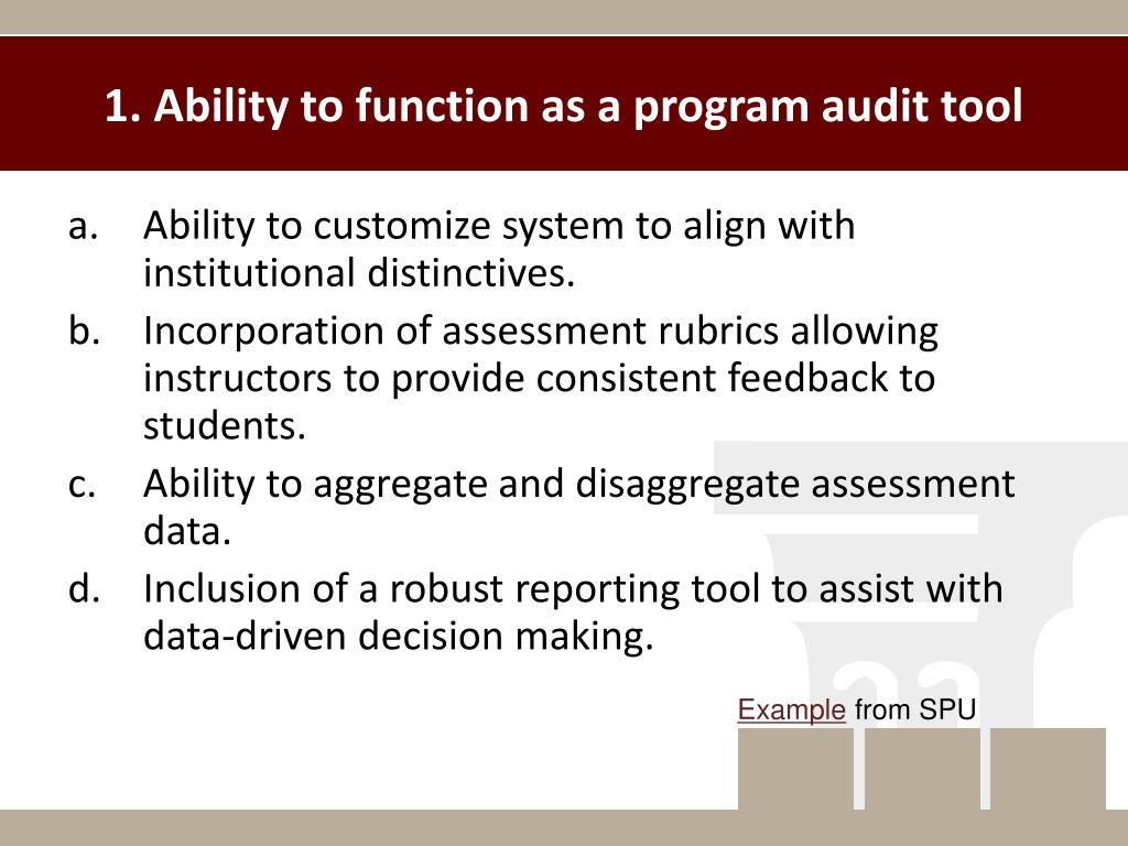 1. Ability to function as a program audit tool
