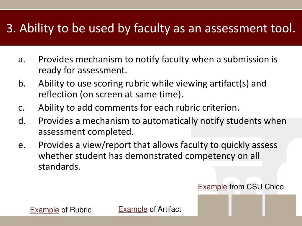 3. Ability to be used by faculty as an assessment tool.