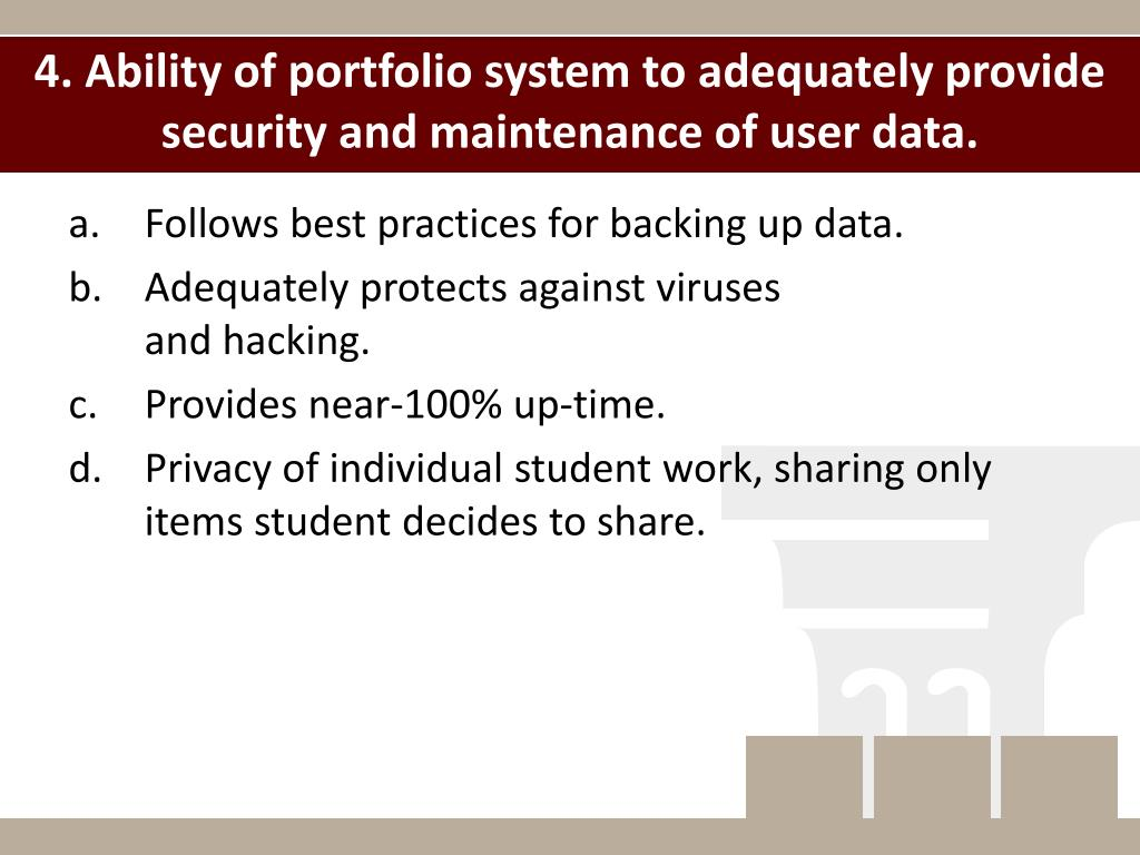 4. Ability of portfolio system to adequately provide security and maintenance of user data.