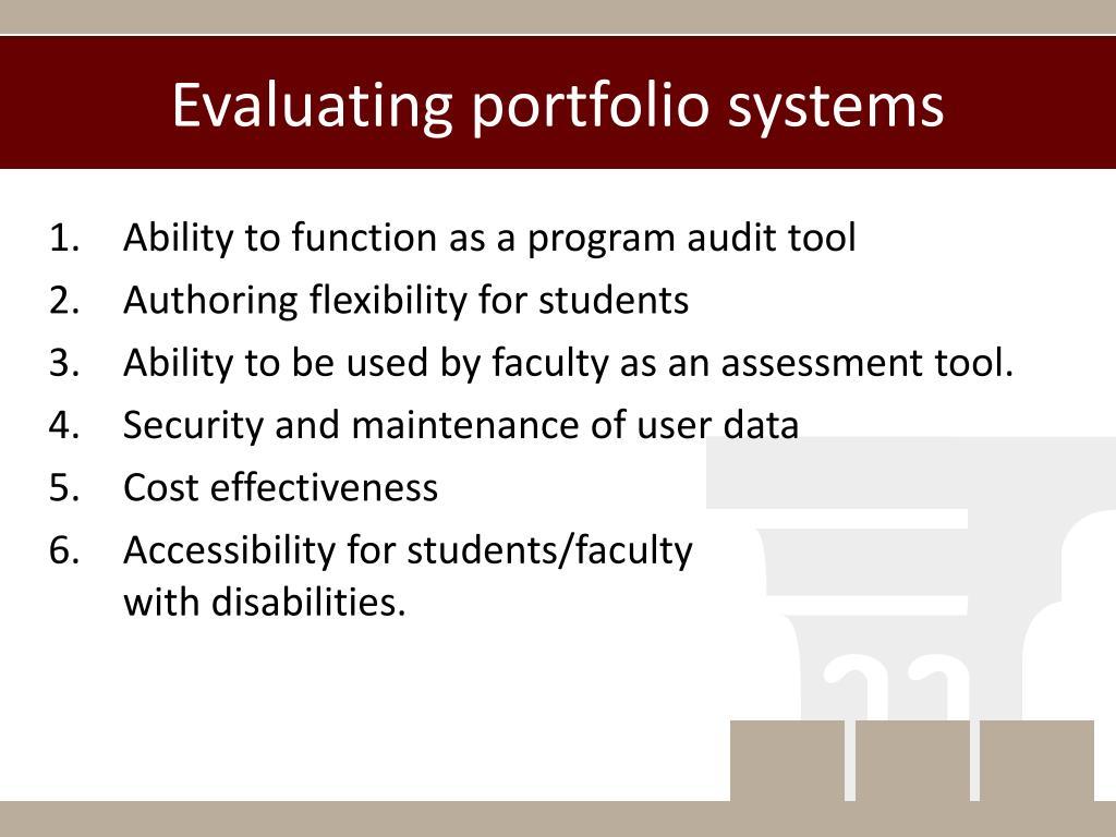 Evaluating portfolio systems