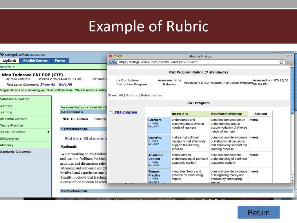 Example of Rubric