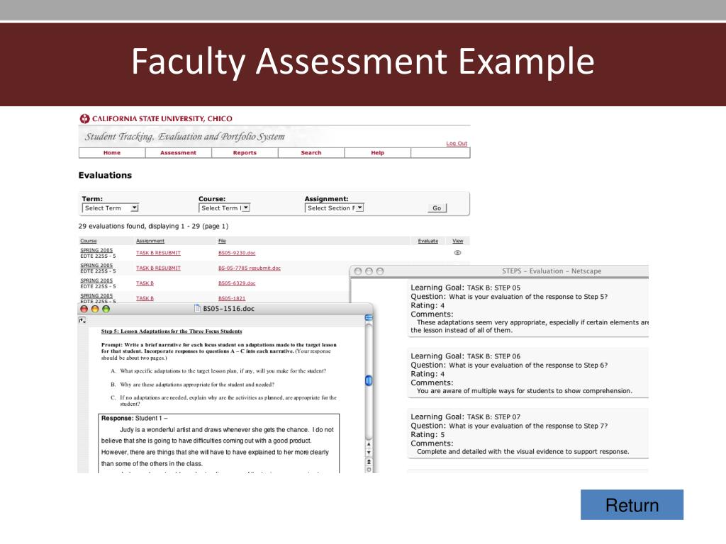 Faculty Assessment Example