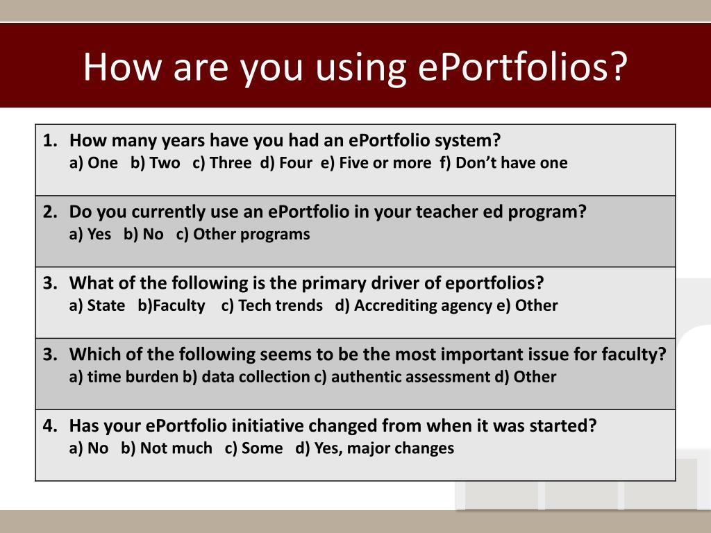 How are you using ePortfolios?
