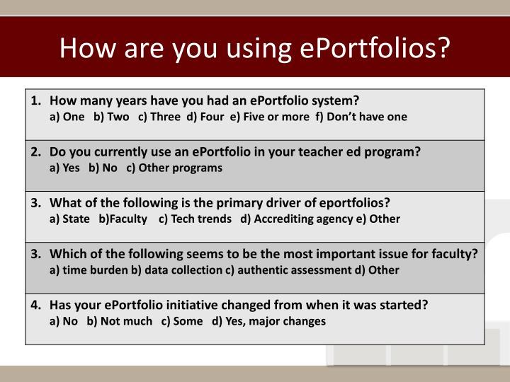 How are you using eportfolios