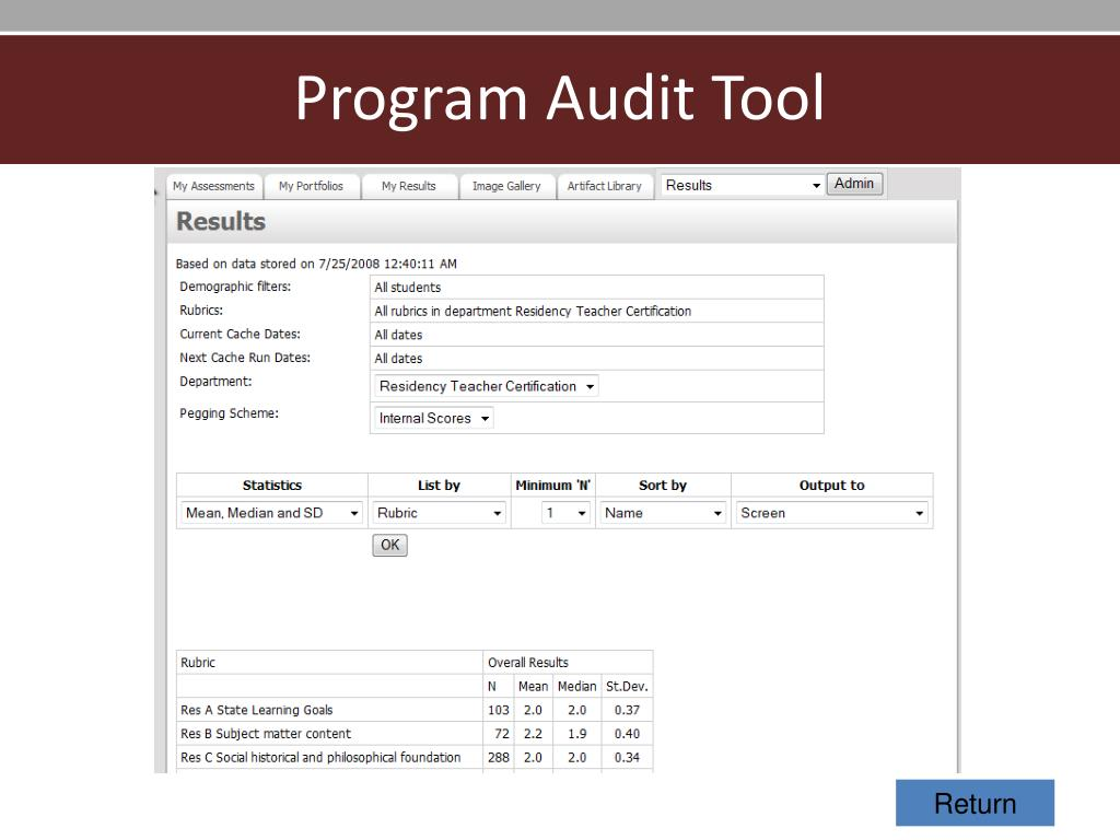 Program Audit Tool