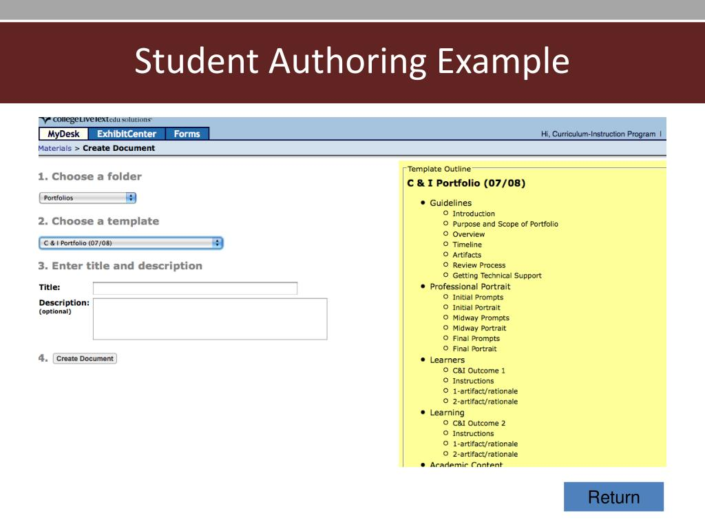 Student Authoring Example