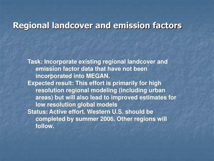 Regional landcover and emission factors