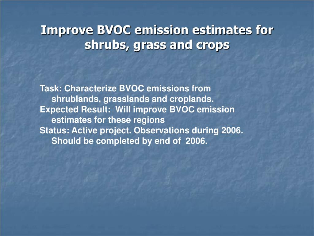 Improve BVOC emission estimates for shrubs, grass and crops