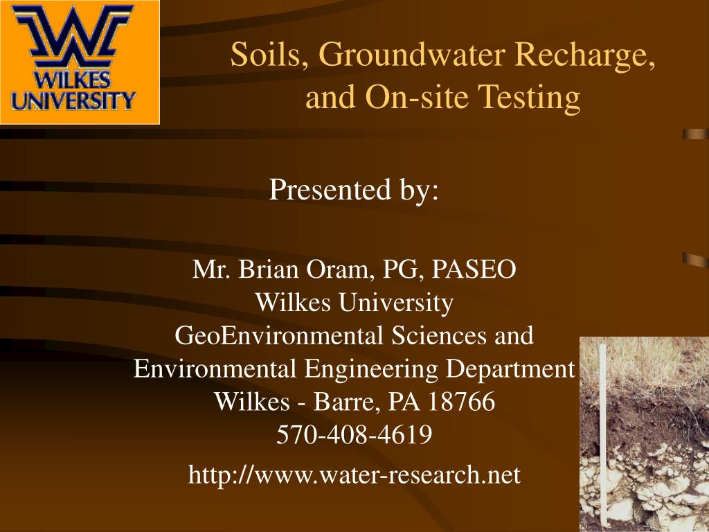 Soils, Groundwater Recharge,