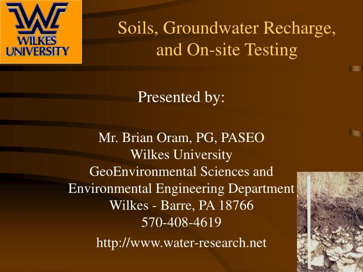 Soils groundwater recharge and on site testing