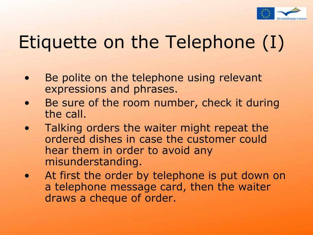 Etiquette on the Telephone (I)