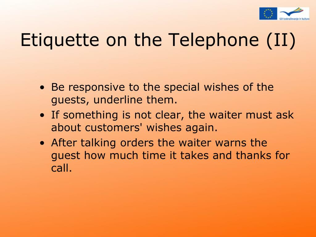 Etiquette on the Telephone (II)